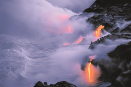 Lava Flow Entering the Sea at Twiight, Hawaii