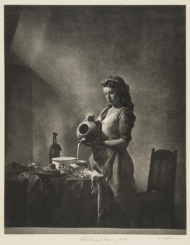 Maid Servant Pouring Milk: William Mortensen