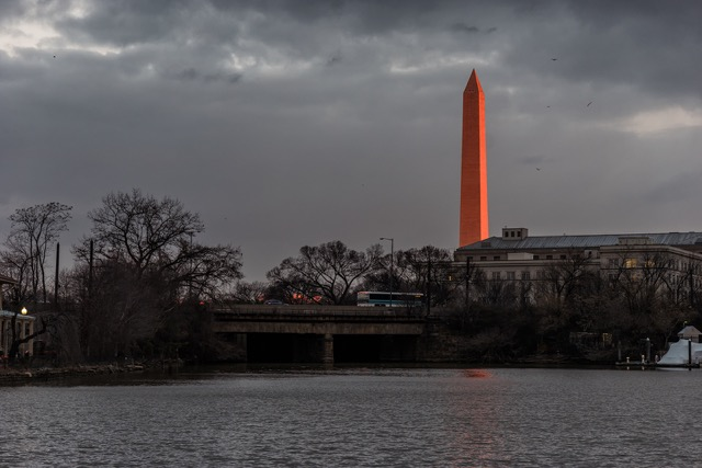 Red Washington Monument