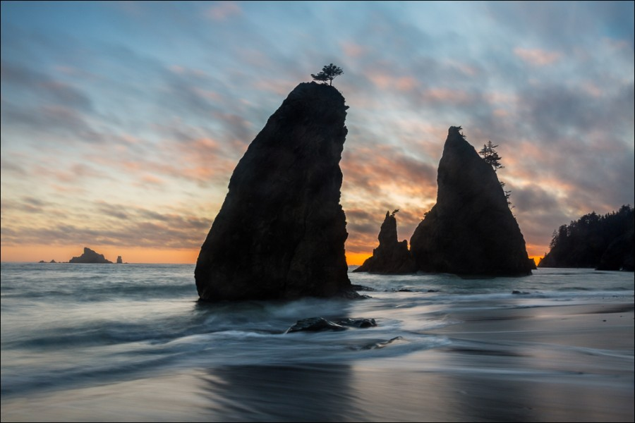 Seastacks at Sunset, Rialto Beach, Olympic National Park