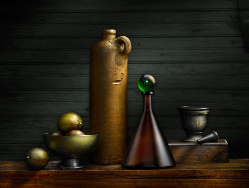 Still Life with Sake Bottle and Marble