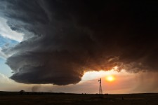 Supercell with Windmill 19:35CST, Chappell, NE