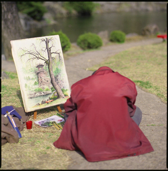 Painter, Moranbong Park, N. Korea