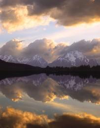 Cloud Reflections & Mt. Moran at Oxbow Bend, Snake River, Grand Tetons