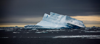 Iceberg with Yellow Sky