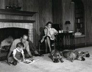 Humphrey Bogart with Lauren Bacall & Son Stephen & Pet Boxers