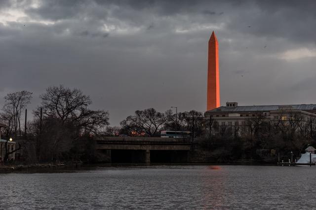 Red Washington Monument