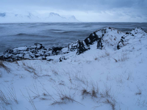 Snow Covered Shoreline, Iceland