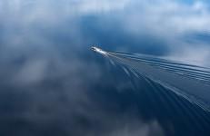 Boat and Reflected Sky, Upper Saranac Lake, NY #417 1436