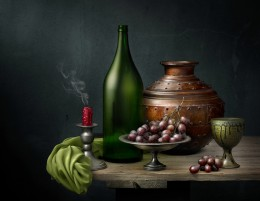 Still Life with Grapes and Copper Vessel