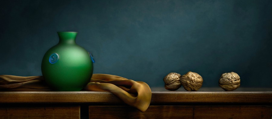 Still Life with Green Vase and Walnuts